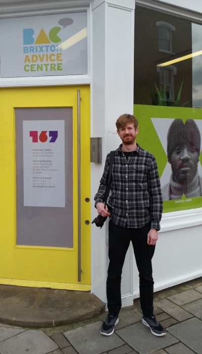 Picture of James Hopkirk outside Brixton Advice Centre